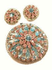 Vintage Brooch & Earrings - Faux Aquamarine & Amethyst - Austria - Circa 1950's
