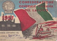 TESSERA CGIL 1951  PROVINCIA DI SAVONA FEDERAZIONE ITALIANA LAV. PORTUALI  9-40