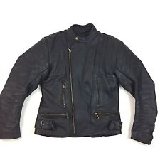 Black Leather Motorcycle Cafe Racer Jacket Medium With Pads