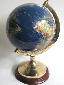 Edler Globus auf Holzstand H 22 cm- Messinggestell- blau