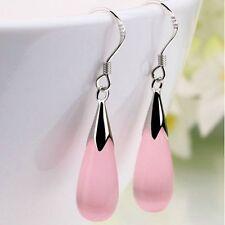 Pink Opal Long Dangle Silver Colour Fish Hook Drop Earrings Birthday Gift