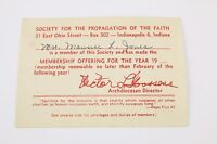 Vtg Society for the Propogation of the Faith Card Indianapolis IN Maurice Jones