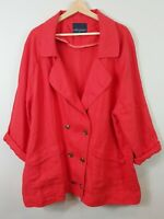 [ SPORTSCRAFT ] Womens Red Linen Jacket | Size AU 18 or US 14