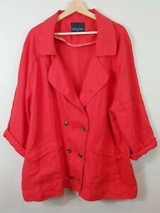 [ SPORTSCRAFT ] Womens Red Linen Jacket | Size AU 18 or US 14