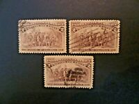 USA Lot of 3 1893  $.02 Blue Columbian #231 Used VF - See Description & Images