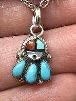 Native American Zuni Face Turquoise MOP Vintage Pendant Silver D-2481L