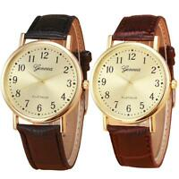 Luxury Women Casual Watch Golden Classical Dial Leather Analog Quartz Watch Gift