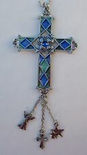 rF CROSS blue green STAINED GLASS LOOK Car Charm ornament Rearview Mirror ganz