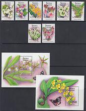 Sierra Leone Sc 1741-1750 MNH. 1994 Orchids & Butterflies, cplt set +  2 s/s