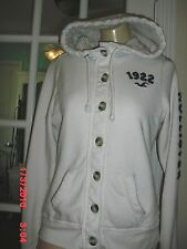 HOLLISTER WHITE SWEAT HOODIE JACKET 40%POLYESTER 60%COTTON LONG SLEEVE SIZE L