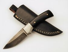 Damascus Steel Full Tang Skinner Knife with Buffalo Horn Handle & Black Sheath