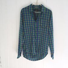 Scotch & Soda Men's Small Long Sleeve Button Up Shirt Plaid Checkered Green Blue