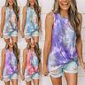 Plus Size Women Tie Dye Tops Ladies Summer Casual Knot Tank Top Blouse Tee Shirt