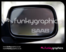 SAAB 93 95 LOGO MIRROR DECALS STICKERS GRAPHICS x 3 SILVER ETCH VINYL