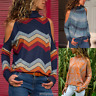UK Womens High Neck Cold Shoulder Sweater Ladies Pullover Jumper Tops Blouse New