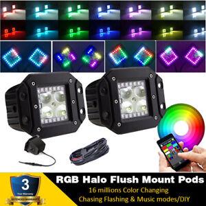 2x Flush Mount LED Flood Work Light Pods Offroad Backup with RGB Halo Bluetooth