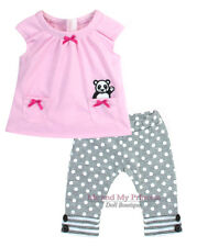 "PINK PANDA TOP + DOT LEGGING outfit Clothes for 15"" Bitty Baby or Twin doll"