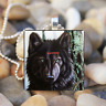 black Wolf Animal Art Cabochon Glass Silver Tile Chain Pendant Necklace Jewelry