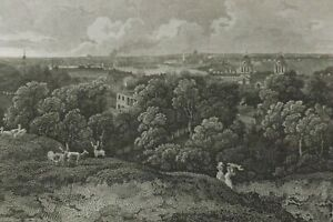 1800 ANTIQUE ENGRAVING LONDON FROM GREENWICH PARK KENT 26CMS BY 21CMS