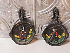 2 Vintage Hand Painted German Decor Mini Cast Iron Skillets Wall Hanging