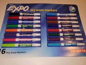 Expo Dry Erase Markers Low Odor Ink Fine Tip 16 Assorted Colors