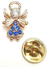 Angel-Drops Birthstone Guardian Angel Pin September Sapphire