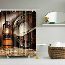 1 Piece SHOWER CURTAIN Vintage Destinctive Country Style with 12 Hooks