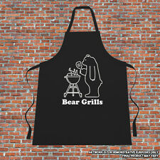 """""""Bear Grills"""" Cooking Apron Gift Fathers Day Mothers Day Funny Parody Printed"""