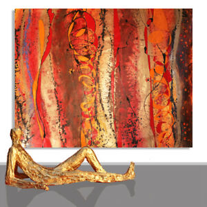 ABSTRACT PAINTING # INTERIOR DESIGN RED BROWN GOLD ART PAINTINGS UNIQUE 78 x 55