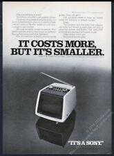 1974 Sony miniature portable TV set model 750 photo vintage print ad