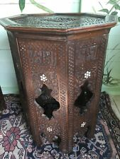LARGE  ANTIQUE  ISLAMIC OCTAGONAL  INLAID  SIDE TABLE (1)