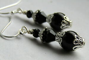 Pearl Earrings Czech 8mm Glass Pearls SHINY BLACK Silver Plated USA Handmade