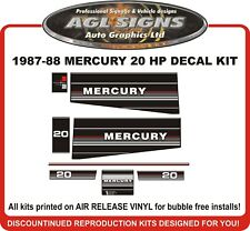 1987 1988  MERCURY 20 hp  Reproduction Decal Kit   25 hp
