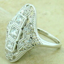 ART DECO 925 STERLING SILVER ANTIQUE STYLE CUBIC ZIRCONIA RING SIZE 7,     #1148