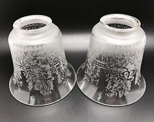 Set of 2 Vintage Floral Etched Glass Shades, Light, Lamp - Beautiful! (RF647)