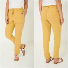 Mustard Tapered Trousers Elasticated Waist Summer Pants 100% Cotton Yellow UK 14