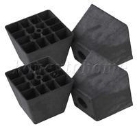 4 Pieces Plastic Trapezoid Furniture Legs Feet for Couch Bed 98x98x80mm Black