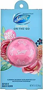 Secret Freshies Invisible Solid Deodorant Paris Rose Scent - 0.5oz. EXP.5/20+.