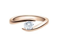 Solitär Ring/Spannring Rotgold 750 0,25ct inkl. Zertifikat Gewicht 2,50g
