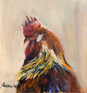 """Rooster Portrait Bird Oil painting 8x9"""" Realism Signed by Author Natalie Demenko"""