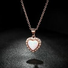 Gifts For Her Valentines / Mothers Day Sevil 18K Rose GP Opal Heart Necklace