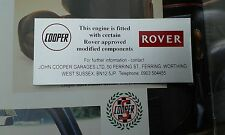 CLASSIC ROVER MINI JOHN COOPER GARAGES S ROCKER AIR FILTER STICKER MPI SPI 1275