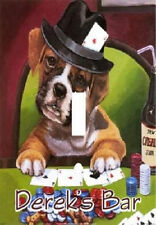 PERSONALIZED BOXER PUPPY DOG PLAYING POKER CASINO LIGHT SWITCH PLATE COVER