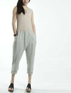 cotton/linen beige women's jumpsuit romper drop crotch cropped capri