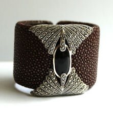 Silver & Marcasite & Onyx Art Deco Brown Stingray Cuff Bangle NEW