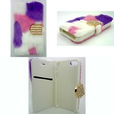 FURRY FASHION PURPLE, PINK AND WHITE BOOK FLIP COVER CASE FOR APPLE IPHONE 5/5S