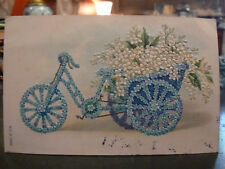 cpa fantaisie gauffré velo bicyclette attelage myosotis