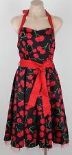 Retro BNWT HEARTS & ROSES Cherry 'Rockabilly' Halter Dress - Size UK 16 Aust 14