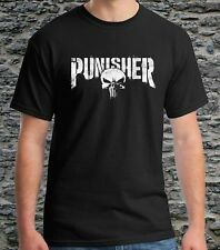 Black T-shirts The Punisher Marvel Logo Men's Tee Size S to 3XL