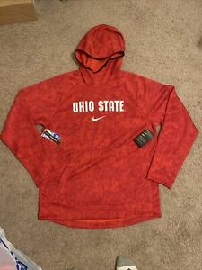 NWT NIKE Ohio State Buckeyes Hoodie Red Jacket PULLOVER Size Large CD1818-657